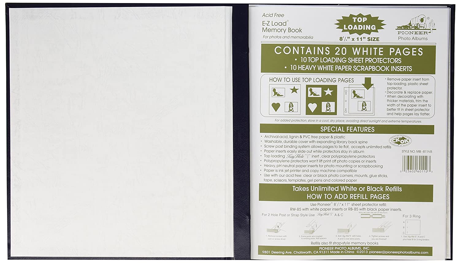 Navy Blue Pioneer 8-1//2 Inch by 11 Inch Leatherette Postbound Album