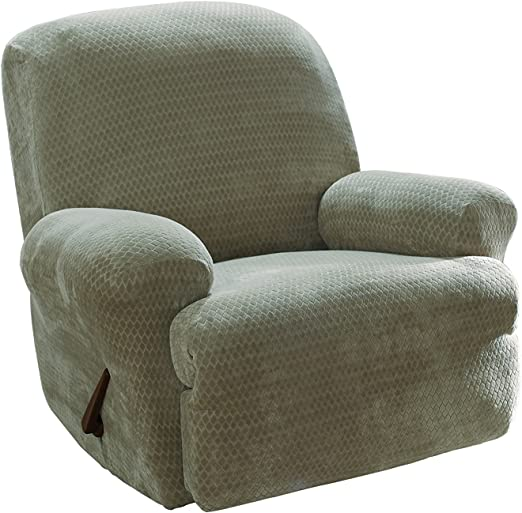 Sure Fit Stretch Royal Diamond 1-Piece Cream Recliner Slipcover