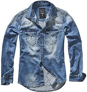Brandit Hombres Pea Coat Denim Azul Herringbone: Amazon.es: Ropa y accesorios