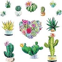 Pegatinas de Pared Cactus Acuarela Corazón Flores Calcomanía Decorativos Plantas Murales para Habitación Dormitorio Sala…