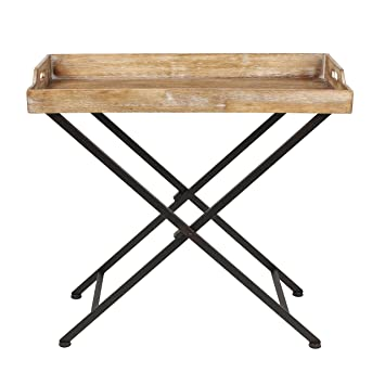 Beautiful Kate And Laurel Marmora Metal Tray Table With Removable Wood Tray Top