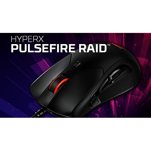 Software-Controlled Customization Gaming Mouse HyperX Pulsefire Raid Ergonomic Design RGB Comfortable Side Grips 11 Programmable Buttons