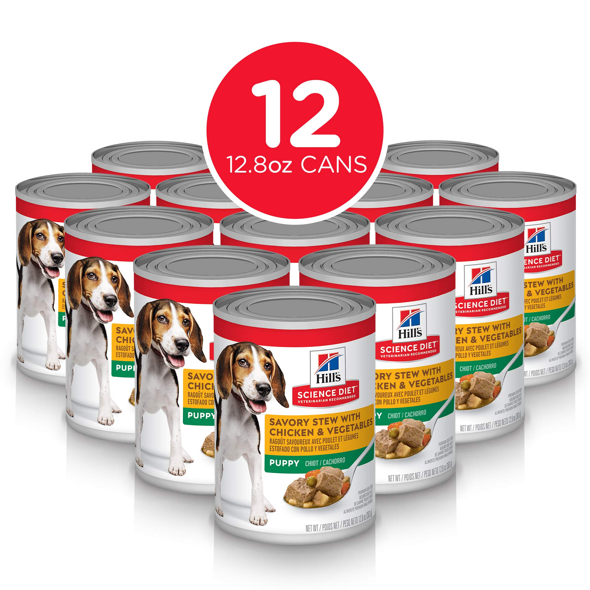 Hill's Science Diet Wet Dog Food, Puppy, Savory Stew with Chicken & Vegetables Recipe, 12.8 oz Cans, 12-pack by Hill's Science Diet