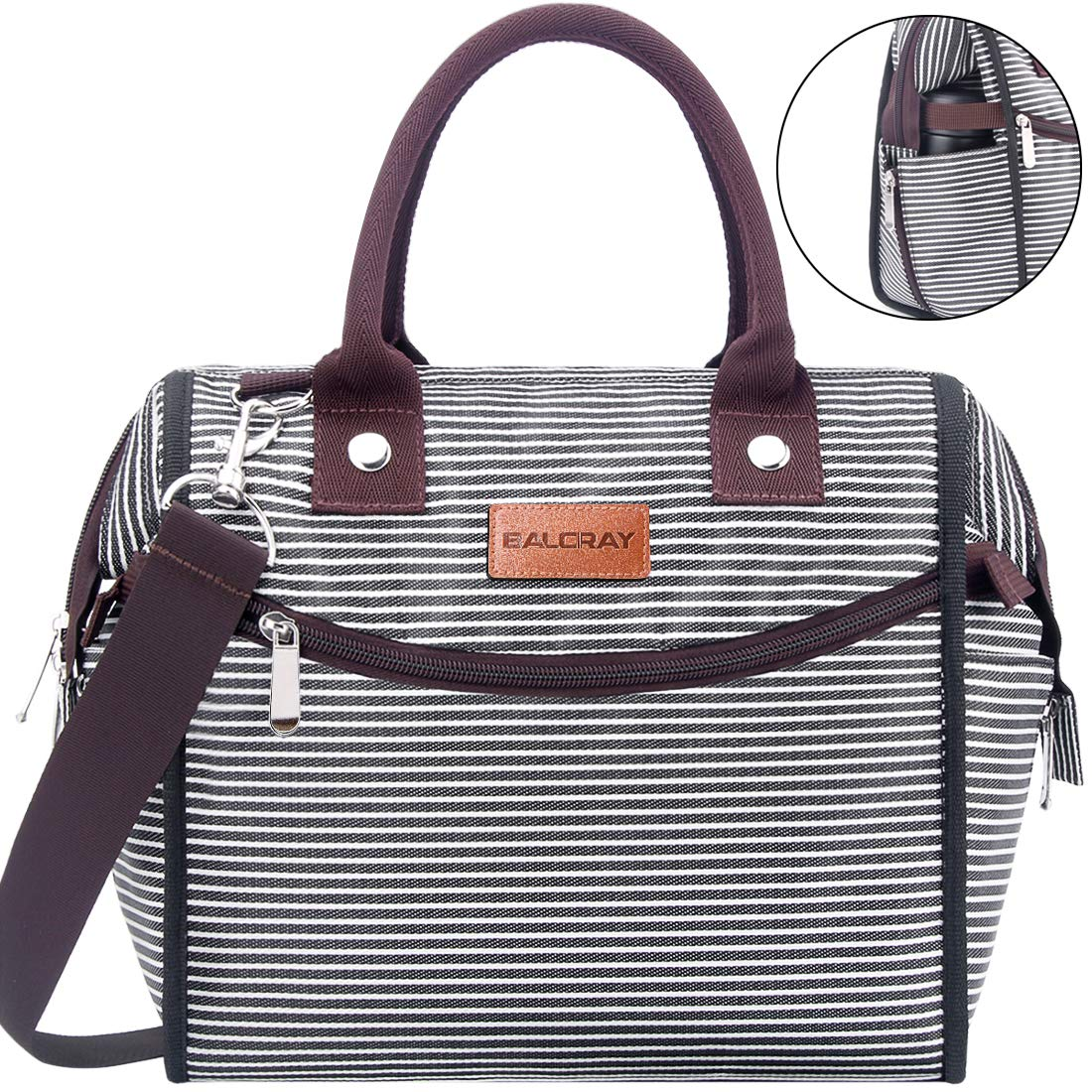 BALORAY Leak-proof Insulated Lunch Bag for Women with Shoulder Strap Wide-open Lunch Cooler Bag Lunch Women Lunch Bag Perfect for Work,Picnic (Black White Strap)