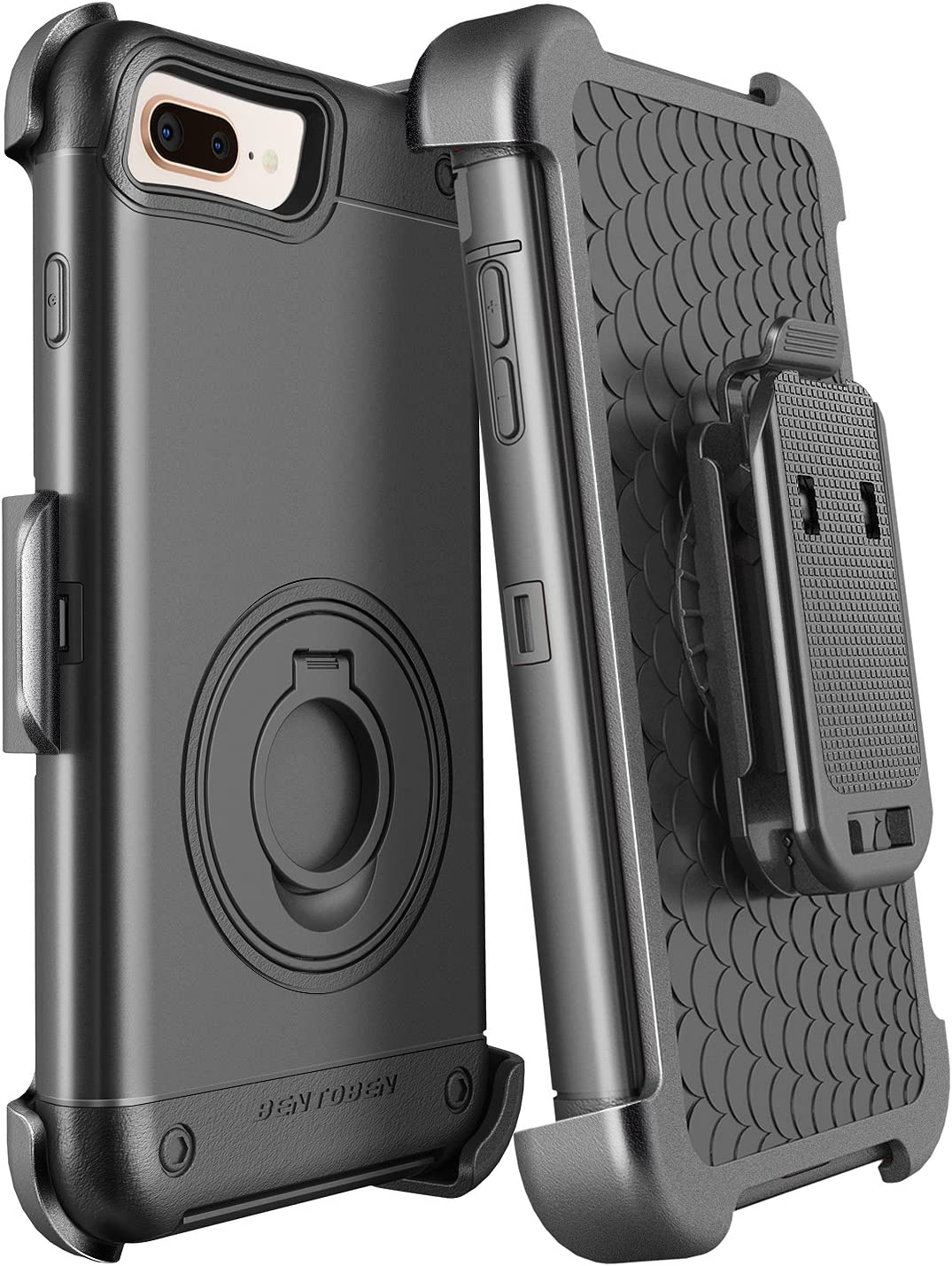 iPhone 8 Plus Case, iPhone 7 Plus Case Belt Clip, BENTOBEN Heavy Duty Full Body Rugged Shockproof Kickstand Holster Cover Hybrid Hard PC Protective Phone Case for iPhone 8 Plus/iPhone 7 Plus, Black