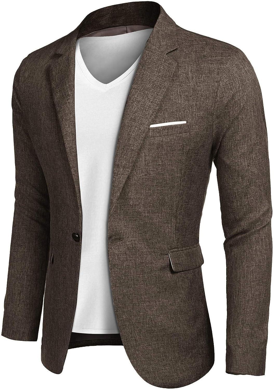 JINIDU Men's Casual SportsCoats Lightweight Suit Blazer Jackets One Button