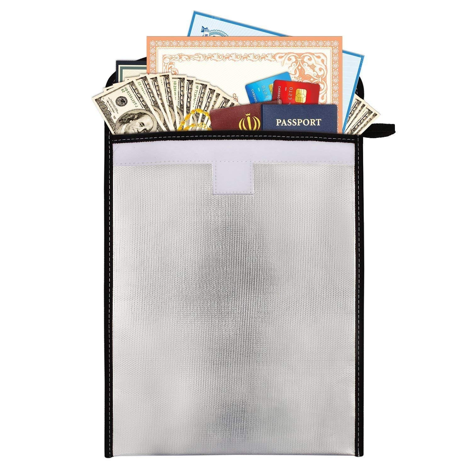 Fireproof Document & Money Bag, Fire & Water Resistant Large Cash & Envelope Holder, Waterproof Safe Storage for Money, Documents, Jewelry and Passport with Zipper Closure (15''x11'', Silver)