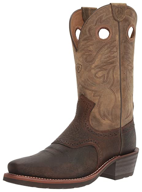 c5f7a4e439c ARIAT Men's Heritage Roughstock Square Toe Western Boot, Earth/Brown  Bomber, 10 B US