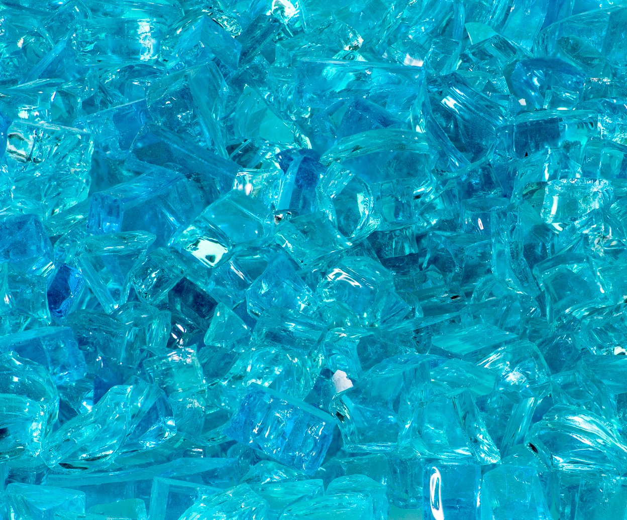 Quarter Inch Caribbean Blue Fire Glass, 10 Pound Bag Fireglass & More Q-CB-10