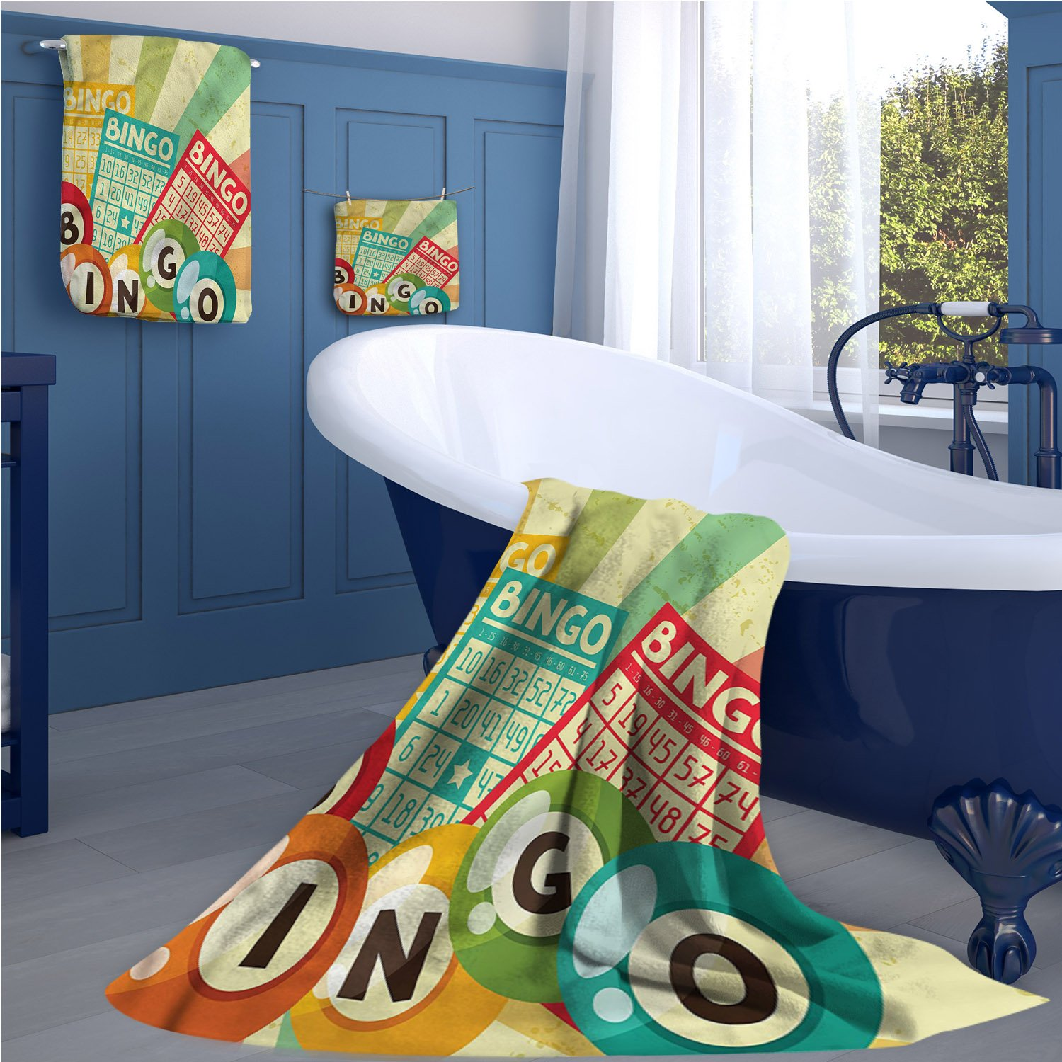 Vintage Long Bathroom Accessories Set Bingo Game with Ball and Cards Pop Art Stylized Lottery Hobby Celebration Theme Custom towel set Multicolor by familytaste