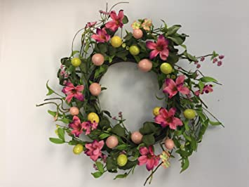 Amazon wreaths for door spring flowers and easter egg wreath wreaths for door spring flowers and easter egg wreath for front door interior easter decoration mightylinksfo