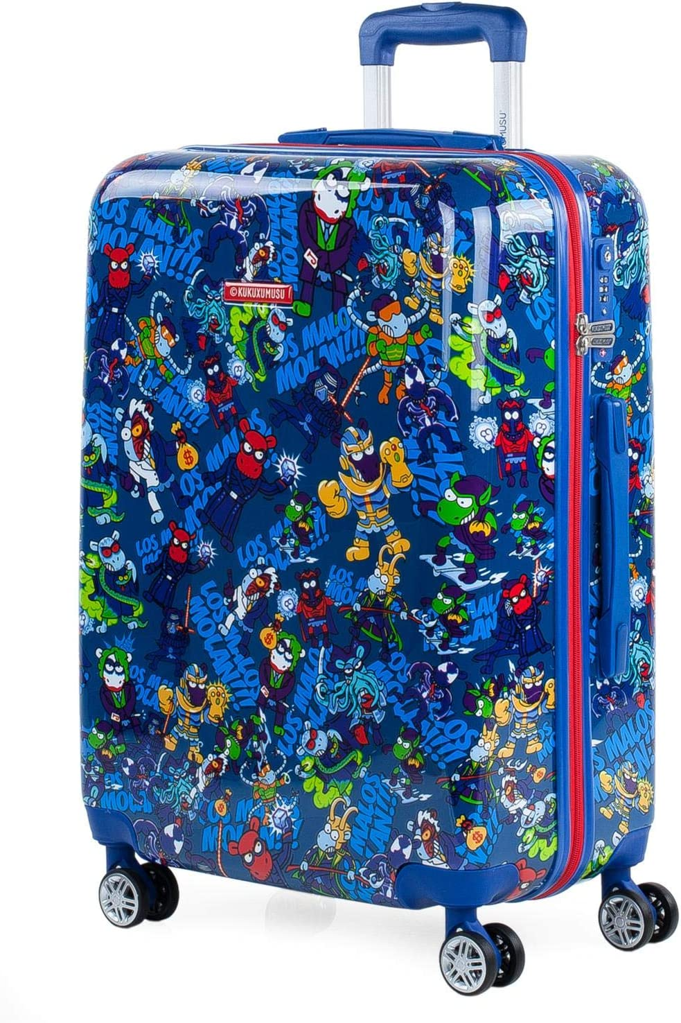 KUKUXUMUSU - Maleta de Viaje Infantil Juvenil rígida 4 Ruedas Trolley 65 cm Mediana de policarbonato Estampado. y Ligera. Mango Asas y candado. Estudiante 131260, Color Azul