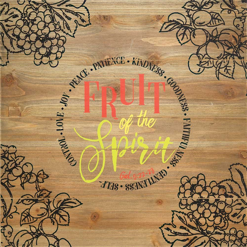 Fruit of the Spirit 20 x 20 Wood Plank Style Wall Sign Plaque