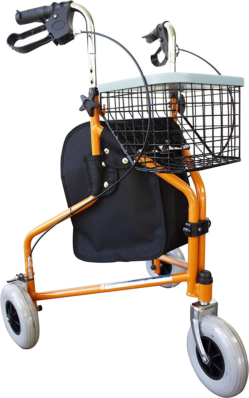 Mobiclinic, Modelo Caleta, Andador para ancianos, mayores, minusvalidos o adultos, de acero, ligero, plegable, con asiento, cesta y 3 ruedas, Color Naranja
