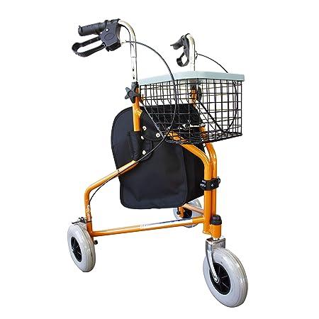 Andador para ancianos, Plegable, Freno en manetas, 3 ruedas, Cesta, Naranja, Caleta, Mobiclinic
