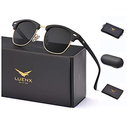 777070b7a1 LUENX Men Women Semi Rimless Polarized Sunglasses UV 400 Protection 51MM  with Case (23