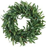 Duovlo 20'' Artificial Lush Olive Wreath Leaves Decoration Greenery Boxwood Wreath Hanging Flower Arrangment