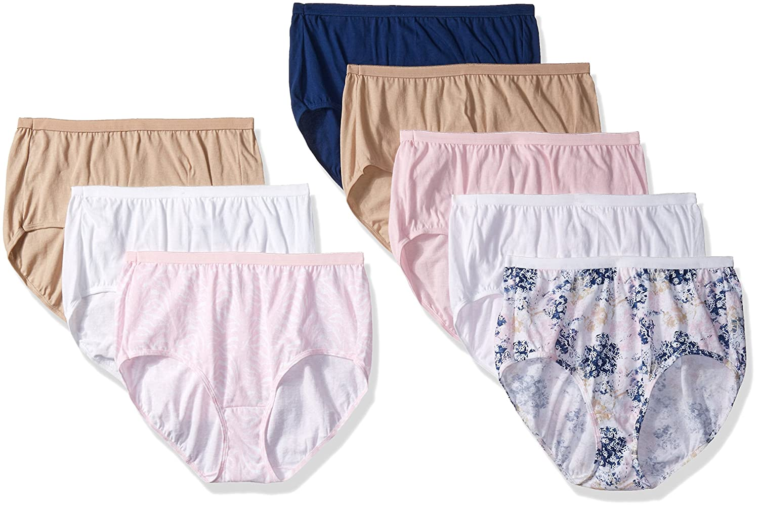 Just My Size Womens Plus Size 8-Pack Cotton Brief Panty