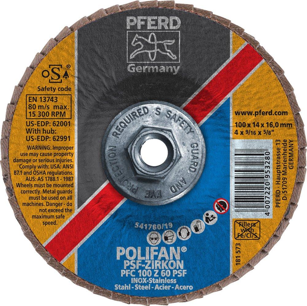 4 Diameter 60 Girt 4 Diameter 3//8-24 Thread PFERD Inc. 15300 RPM 3//8-24 Thread PFERD 62991 POLIFAN Type 29 Conical Flap Disc Zirconia Alumina