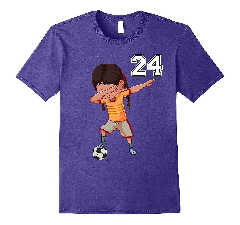#24 Soccer Shirt Girls Funny Dabbing Dab Dance Soccer Ball-T-Shirt