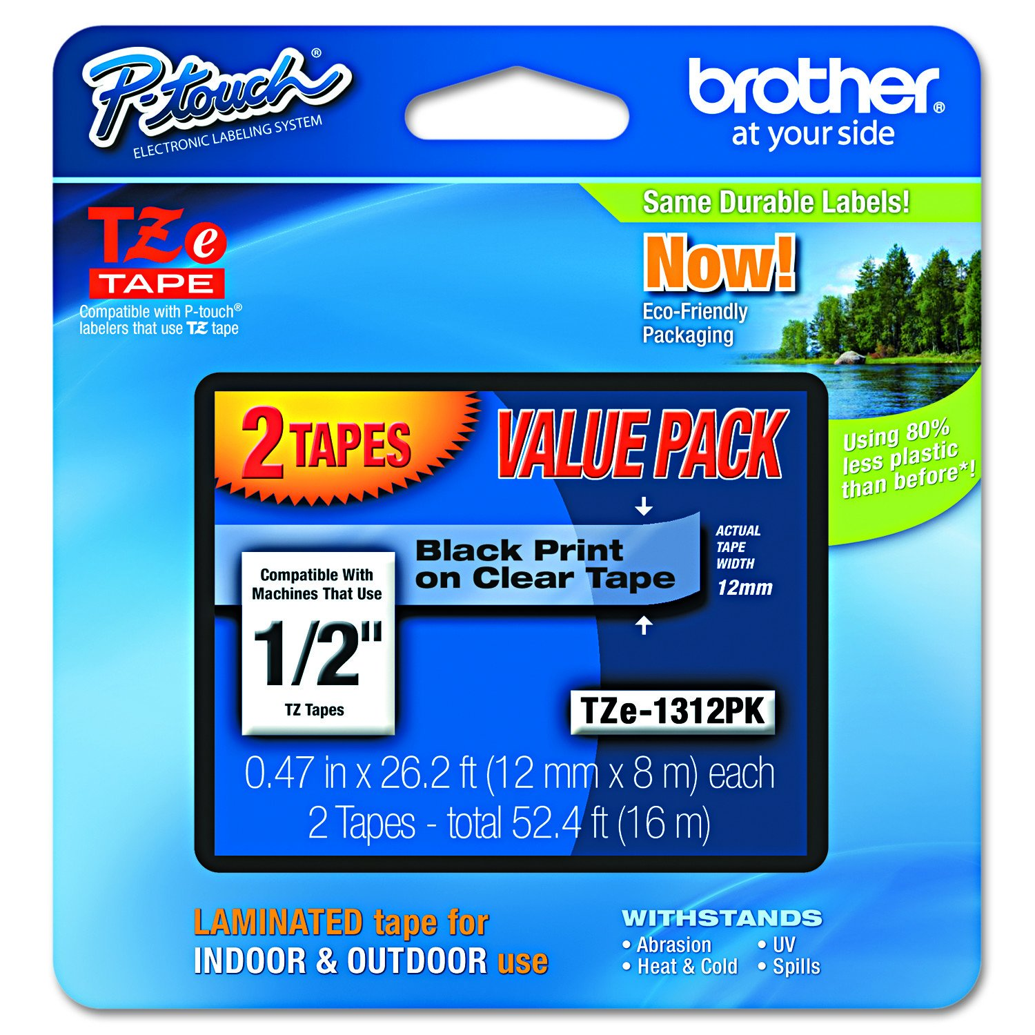 Brother Genuine P-touch TZE-1312PK Tape, 1/2'' (0.47'') Standard Laminated P-touch Tape, Black on Clear, Perfect for Indoor or Outdoor Use, Water Resistant, 26.2 Feet (8M), Two-Pack