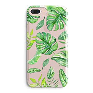 iPhone 8 Case,iPhone 7 Case,Girls Cute Bahama Leaves Aloha Summer Palm Tree Fresh Leaves Tropical Banana Palm Tree Nature Plants Hawaii Beach Pattern Soft Clear Case for iPhone 8 (iPhone 7)