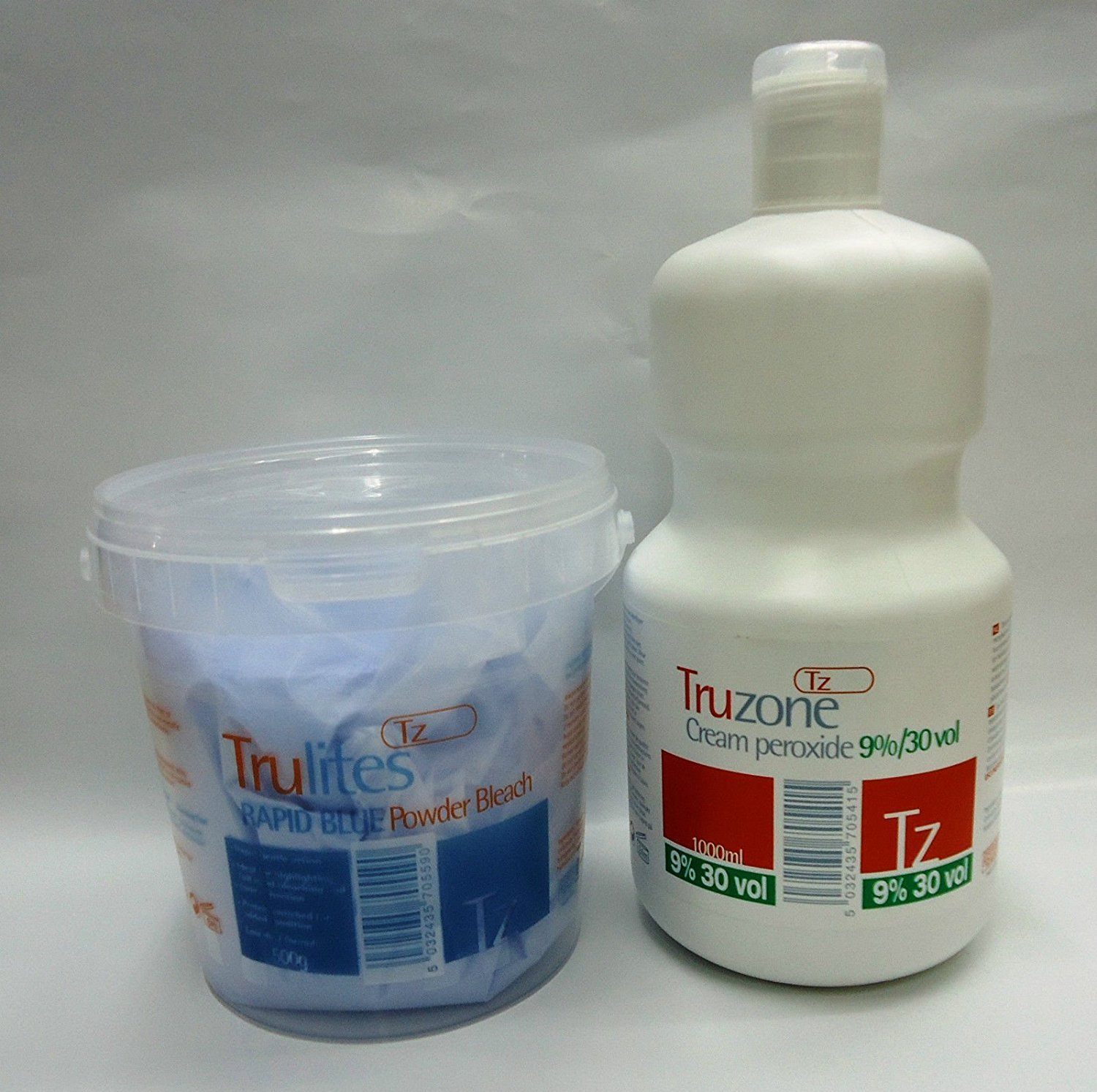 1 SET OF TRUZONE CREAM PEROXIDE 9% (30 VOL) 1000ML & RAPID BLUE HAIR BLEACH 500GM