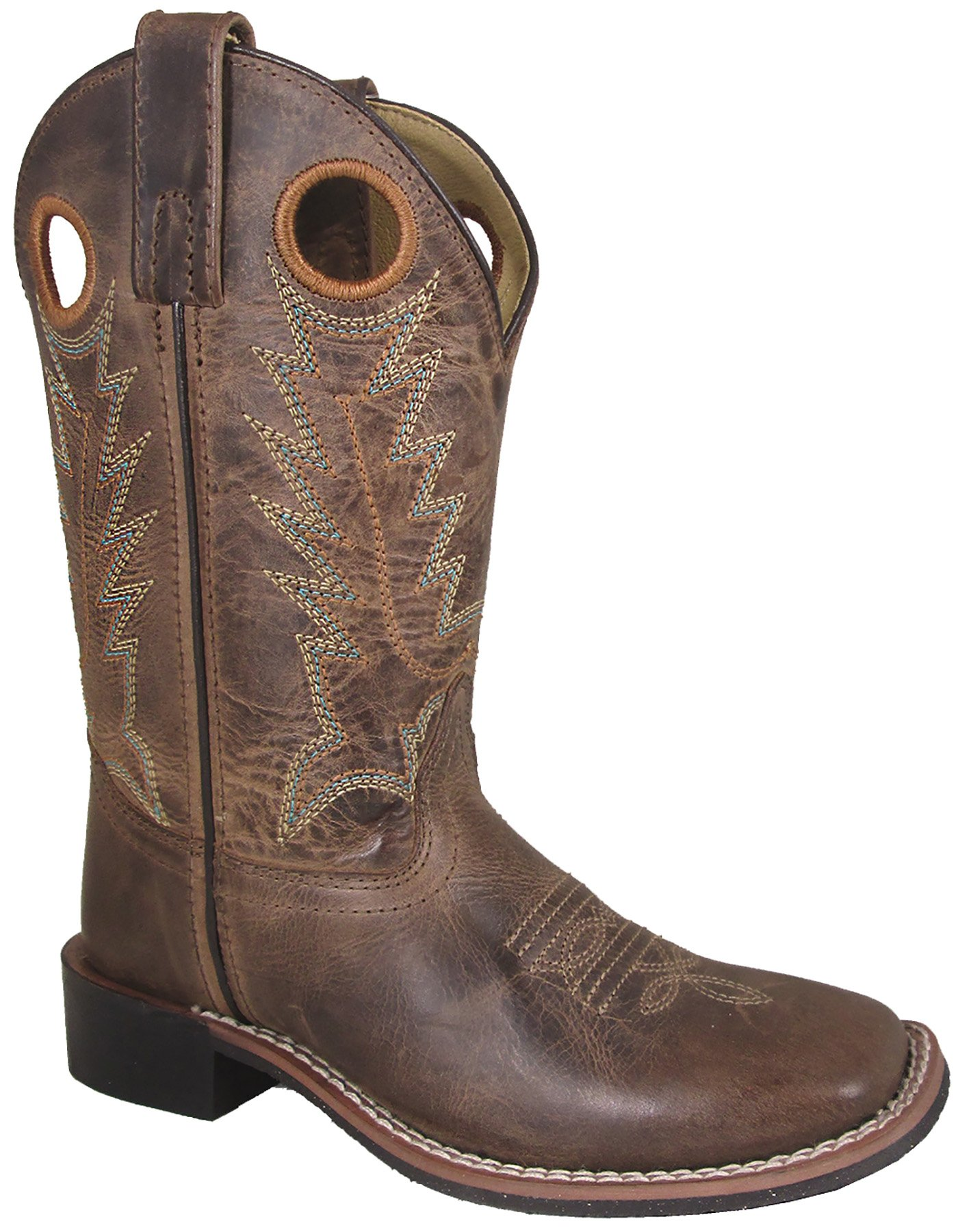 Smoky Mountain Boys Brown Distressed Jesse Square Toe Western Cowboy Boot, Brown Waxed Distress, 10.5 M US Little Kid