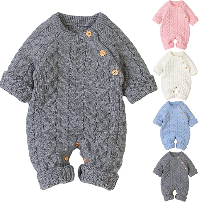 puseky Newborn Baby Boy Girl Hooded Knit Romper Jumpsuit Overalls One-Piece Bodysuit Outerwear