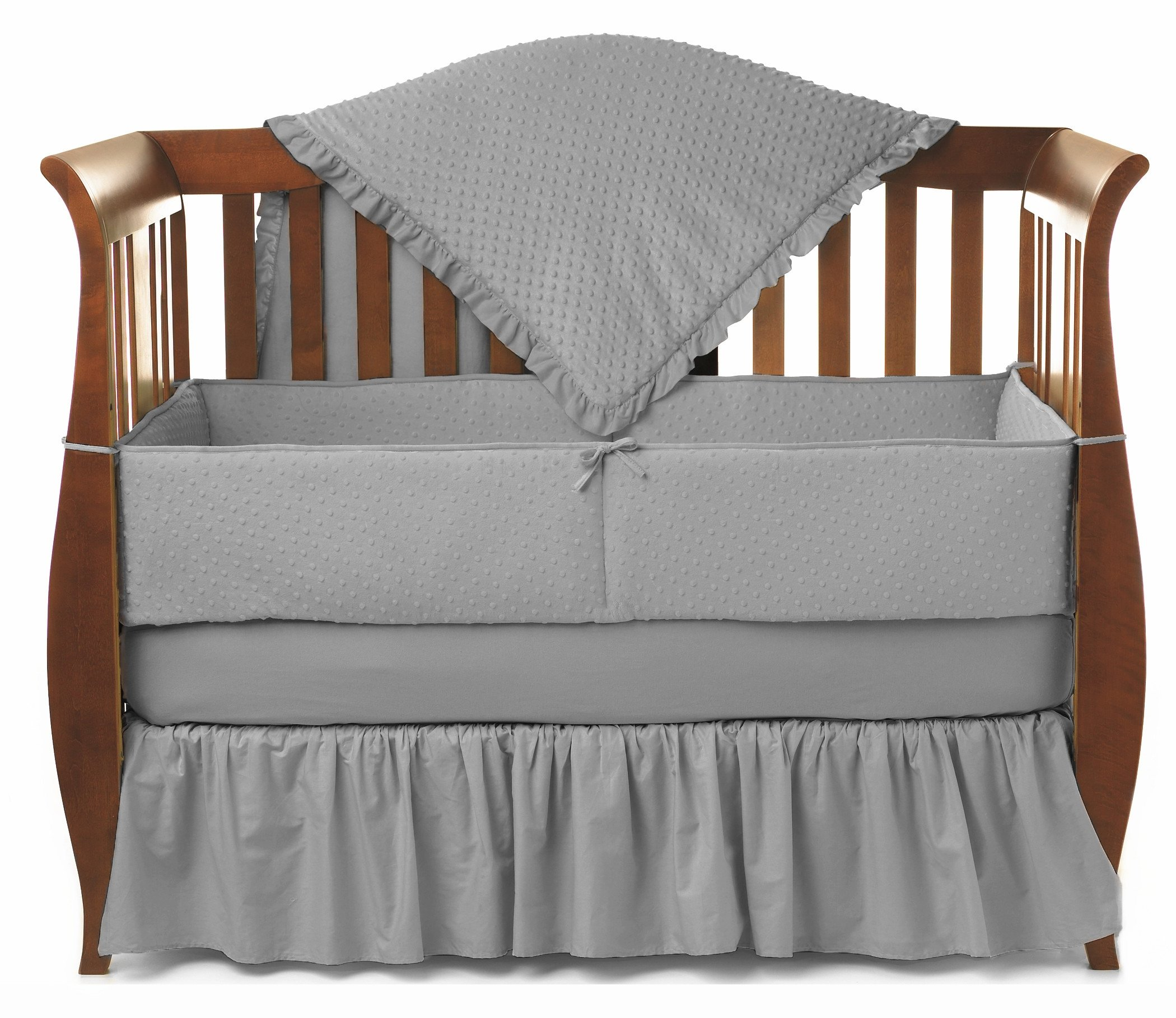 American Baby Company Heavenly Soft Minky Dot 4-Piece Crib Bedding Set, Gray