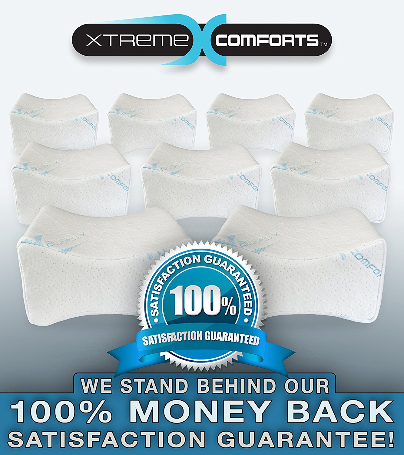 Orthopedic Memory Foam Knee Pillow – Contoured Pain Relief Support Wedge For Sciatic Nerve, Hip Joint, Leg & Back Pain – Hypoallergenic Washable Bamboo Cover - Side Sleepers Xtreme Comforts (3 Pack)