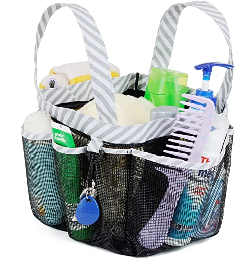 Amazon Com Haundry Mesh Shower Caddy Tote Large College Dorm Bathroom Caddy Organizer With Key Hook And 2 Oxford Handles 8 Basket Pockets For Camp Gym Home Kitchen