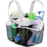 Mesh Shower Caddy Tote, Large College Dorm Bathroom Caddy Organizer with Key Hook and 2 Oxford Handles, Quick Hold, 8 Basket Pockets for Camp Gym