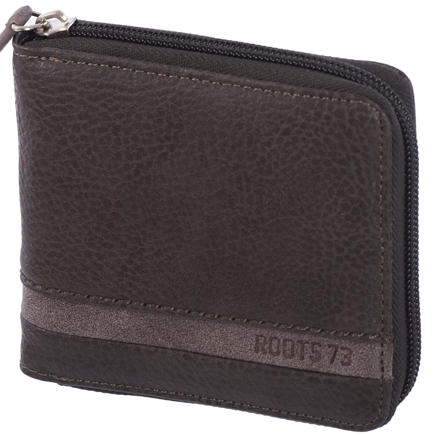 Roots 73 Men's Zip Around Trifold RFID Protected ID Wallet Black CBMC_RT221300_CW_BLK