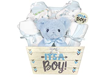 Amazon baby gift basket for a boy 8 piece teddy bear baby baby gift basket for a boy 8 piece teddy bear baby shower gift set negle Image collections