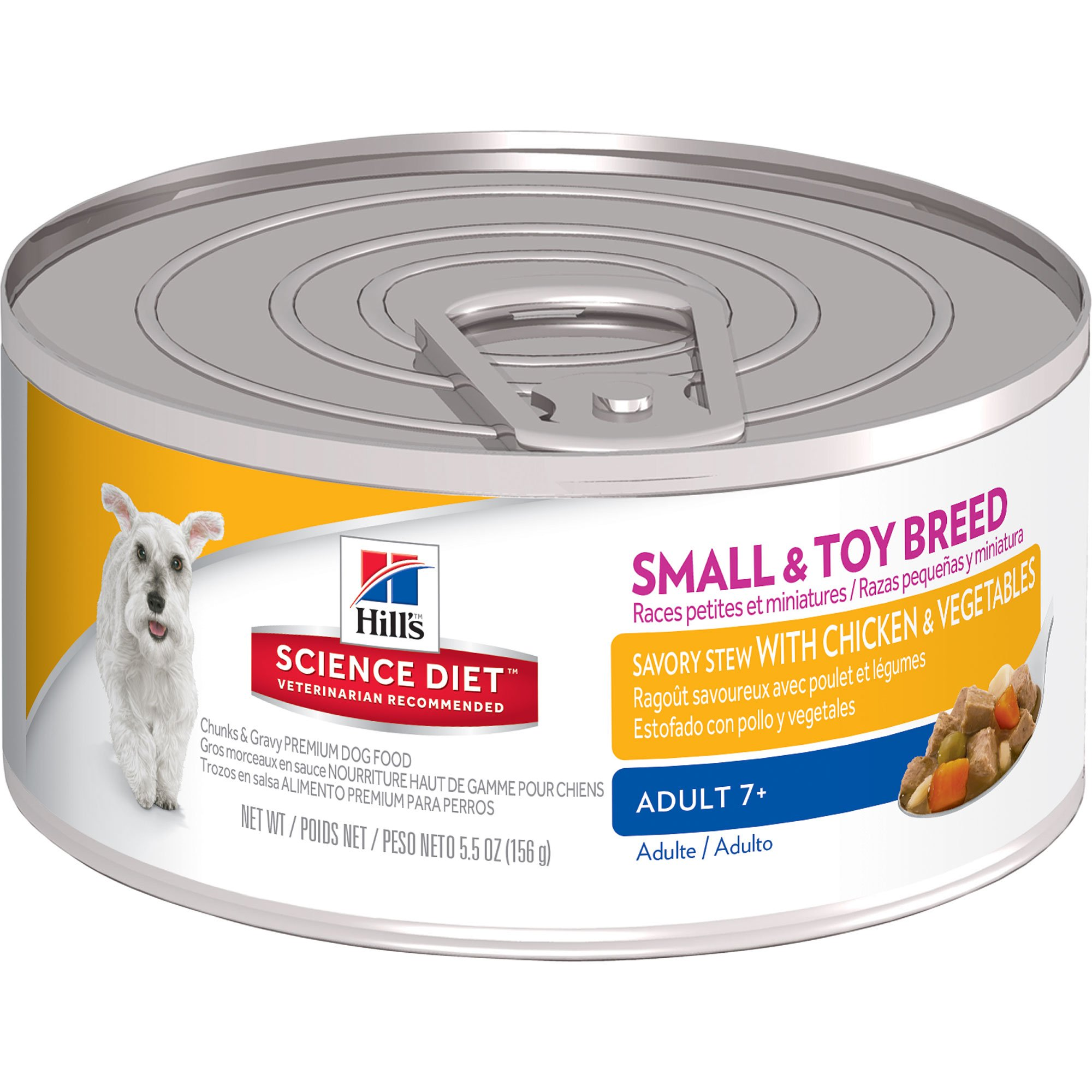 Hill's Science Diet Adult 7+ Small & Toy Savory Stew Chicken & Vegetables Wet Dog Food, 5.5-Ounce Can, 24-Pack