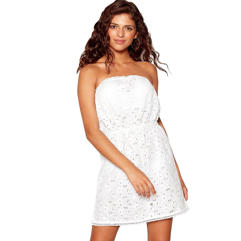 Debenhams Floozie Frost French Womens White Broderie Bandeau Mini Beach Dress: Debenhams: Amazon.co.uk: Clothing