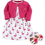 Hudson Baby Baby-Girls 3 Piece Dress, Cardigan, Shoe Set Long Sleeve Casual Dress - Pink