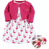 Hudson Baby Baby-Girls 3 Piece Dress, Cardigan, Shoe Set Long Sleeve Casual Dress - Pink