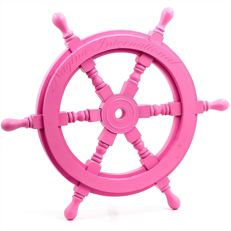Beautiful Pink Pirate's Steering Nautical Ship Wheel - Captain Maritime Beach Home Decor Gift - Nagina International (12 Inches)
