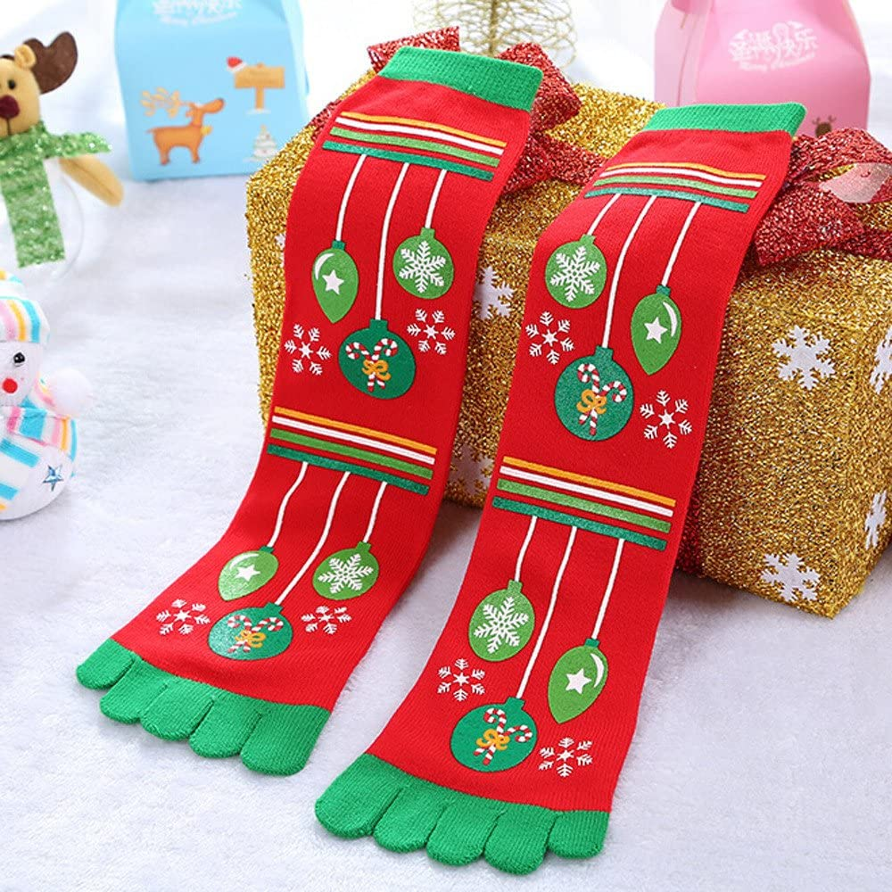 STORTO Women Clearance Christmas Socks Cute Funny Five Toe Cotton Socks