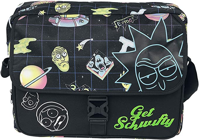 Rick And Morty Space AOP with Flock Print Messengerbag Black
