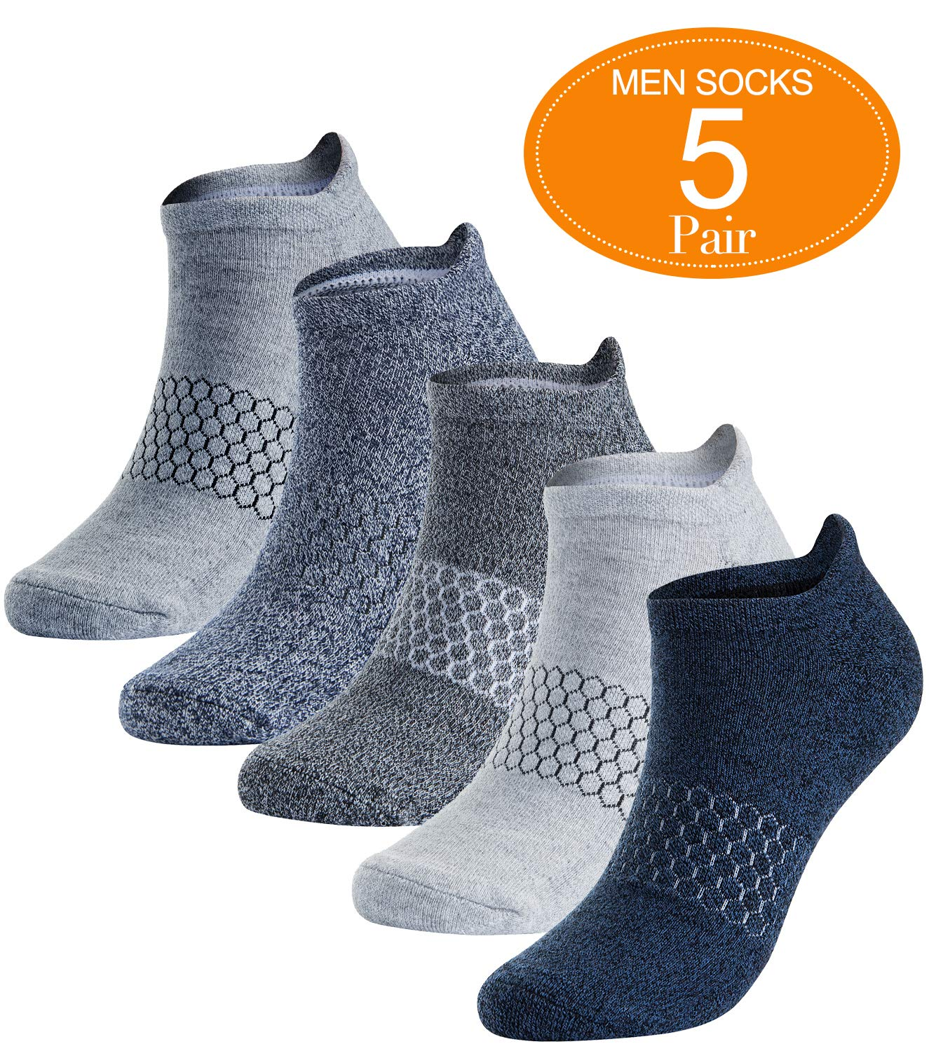 Mens Athletic Running Socks Low Cut No Show Sport Sock Arch Support 5 Pack