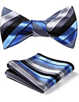 HISDERN Men's Stripe Wedding Party Self Bow Tie Pocket Square Set