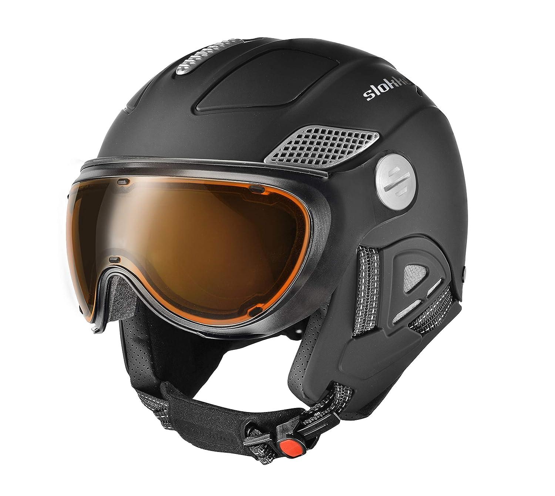 Slokker Raider Pro Black Skihelm Snowboardhelm Ski Visierhelm Helm Snowboard optimal für Brillenträger (61-64)