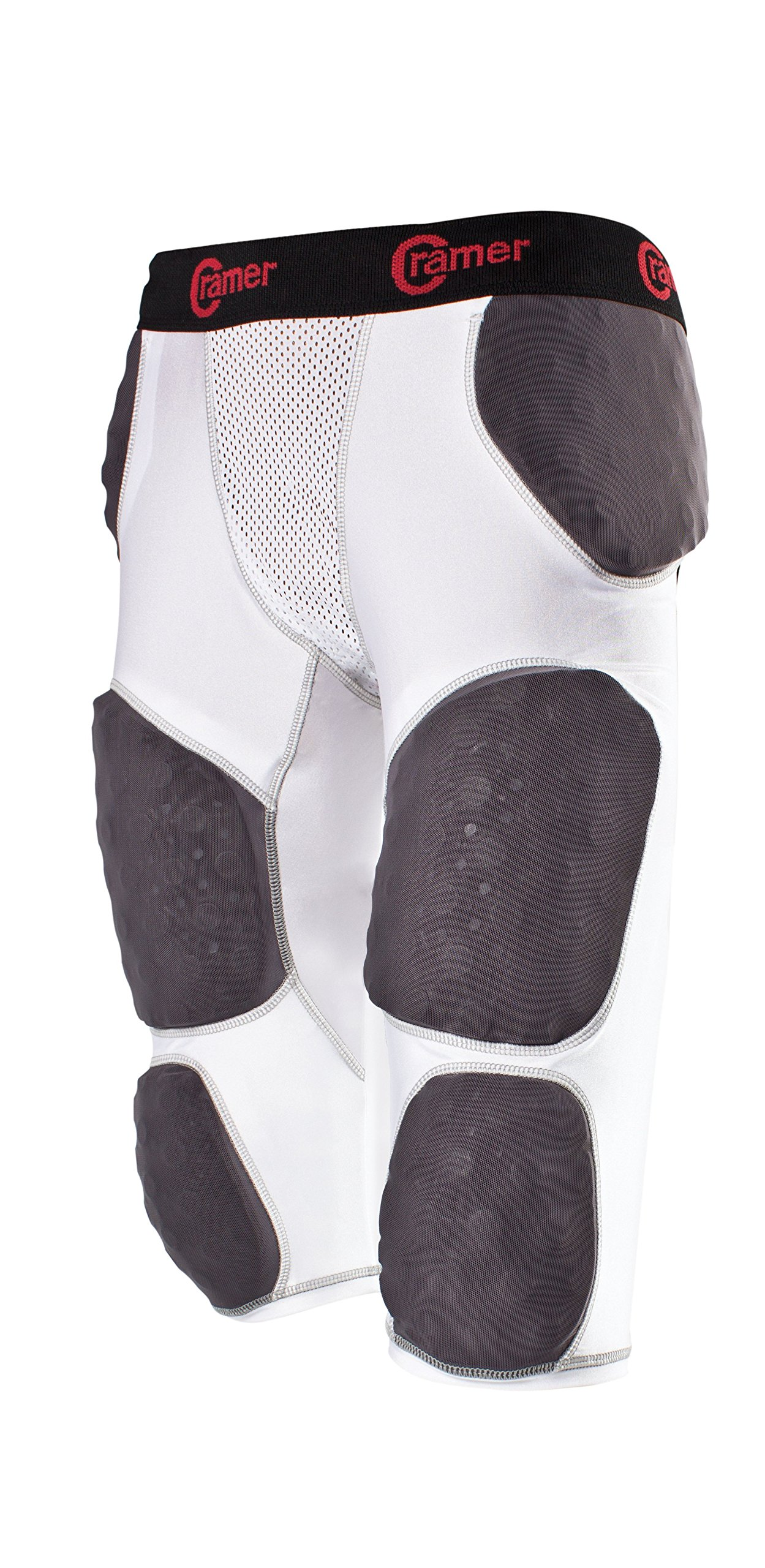Cramer Lightning 7 Pad Football Girdle With Integrated Hip, Tailbone and Thigh Pads, Anti-Bacterial and Moisture-Wicking Fabric, Great Protection Without Impeding Athletic Performance, White, Small