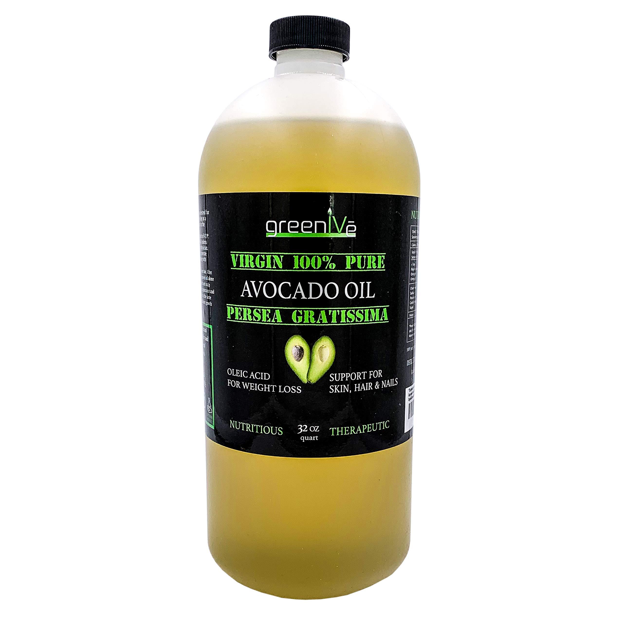 GreenIVe - Avocado Oil - 100% Pure Avocado Oil - Cold Pressed - Virgin - Exclusively on Amazon (32 Ounce) by Greenive