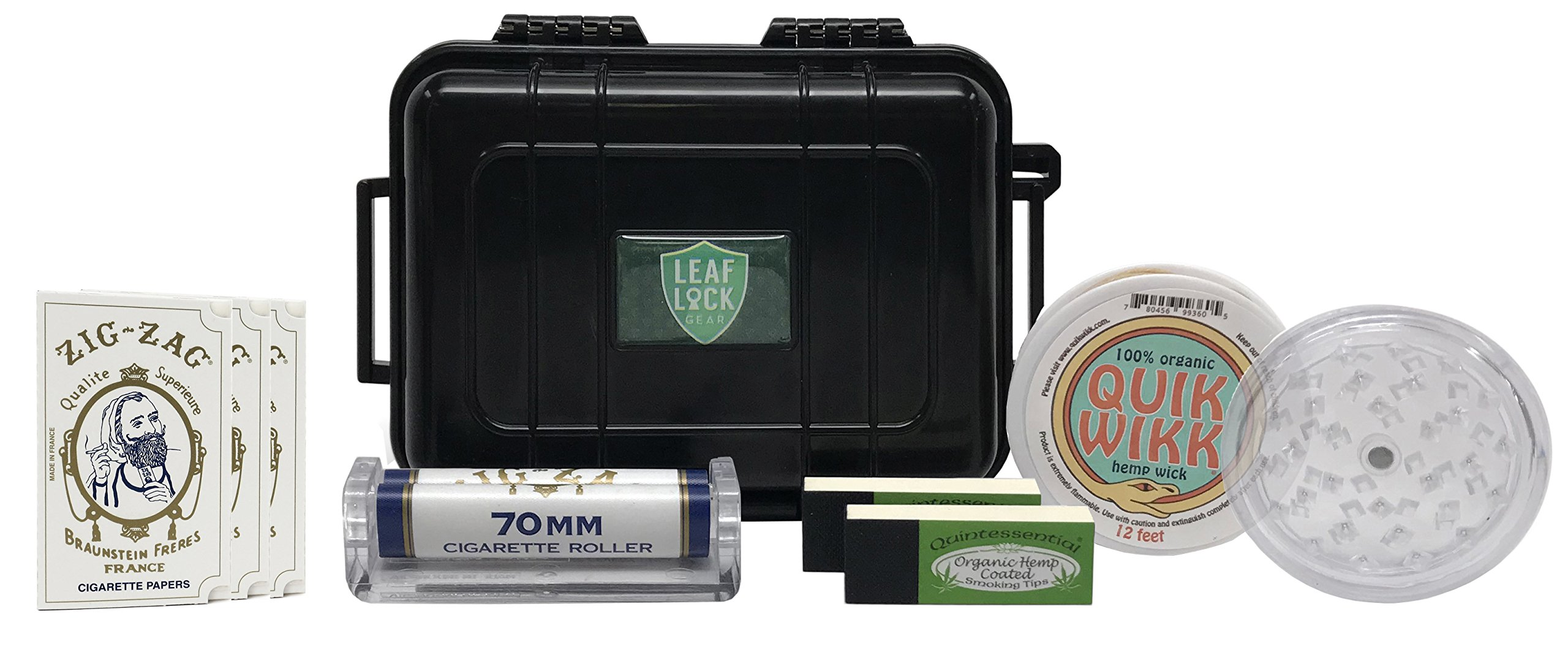Zig Zag White Rolling Papers (3 Packs), Zig Zag 70mm Cigarette Roller, Quintessential Tips (2 Packs), Leaf Lock Gear Airtight Travel Case, and Acrylic Grinder - 8 Item Bundle