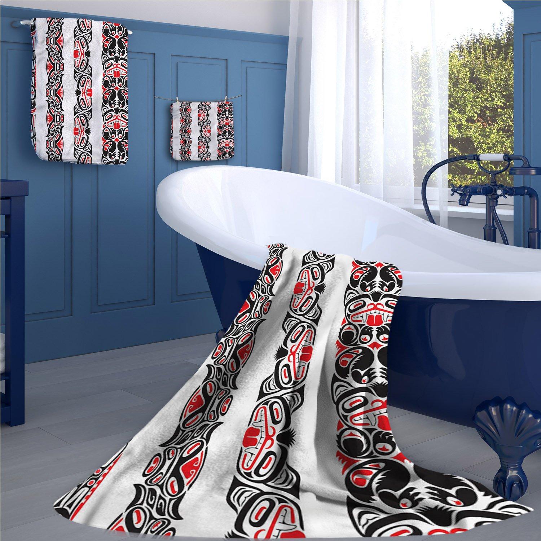 familytaste Primitive Long Bathroom Accessories Set Haida Motifs in Vertical Borders with Abstract Tribal Animal Figures Custom towel set Black Vermilion White
