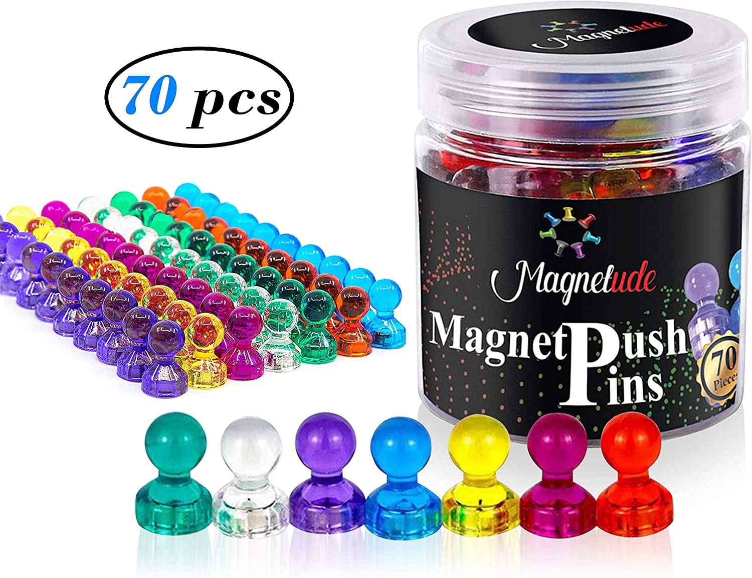 MAGNETUDE Magnetic Push Pins - 70 Pack Strong Magnets for Refrigerator Dry Erase Board and Whiteboard, Push Pins Magnet for Home, School, Classroom and Office, Acrylic Magnetic Push Pins